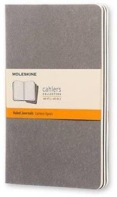 Large Ruled Journal (Moleskine Cahier Journal (Set of 3), Large, Ruled, Pebble Grey, Soft Cover (5 x )