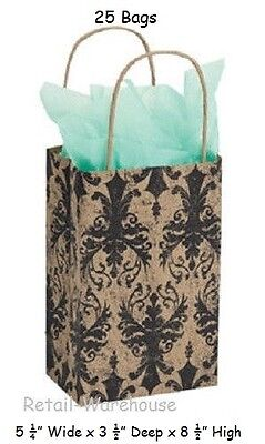 Paper Shopping Small Bags 25 Distressed Damask 5 X 3 X 8 Black Tan
