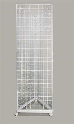 Wire Grid Triangle Tower Display Rack Casters Rolling Castors White 2 X 5 H