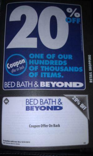 bed bath and beyond 20 off coupon ebay. Black Bedroom Furniture Sets. Home Design Ideas
