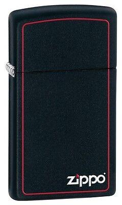 Zippo 1618ZB, Black Matte Finish Lighter, Red Border, Slim Size