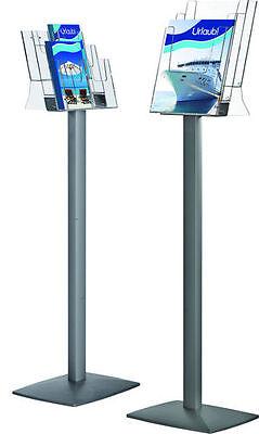 Boden - Prospektständer / Infoständer mit 6 Fächern im DIN lang Format