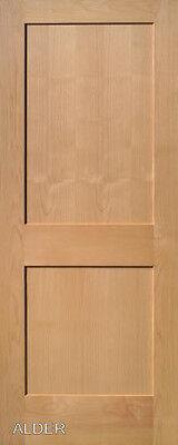 2 Panel Flat Shaker Clear Alder Stain Grade Solid Core Interior Wood Door Doors Alder Wood Doors