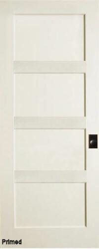 4 Panel Flat Contemporary Primed Shaker Stile & Rail Solid Core Wood Doors Door