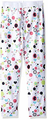 Hot Chillys Youth Pepper Skins Print Bottom, Dots & Hearts-White, Medium