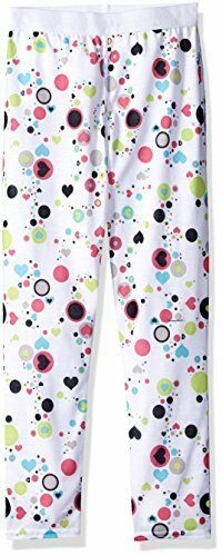 Hot Chillys Youth Pepper Skins Print Bottom, Dots & Hearts-White, X-Small