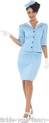 Air Hostess Fancy Dress (Womens Ladies Air Hostess Blue Costume Cabin Crew Stewardess Fancy Dress Outfit)