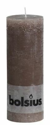 Bolsius Rustic Pillar Candle 190 x 68mm Taupe 77 Hour Burn