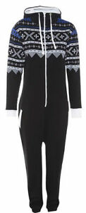New Mens Womens Ladies Unisex Aztec Printed Onesie Jumpsuit All In One S M L XL