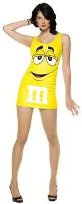 Womens Adult Sexy M&M's Chocolate Candies Yellow Character Tank Dress Costume - Adult M&m Costume