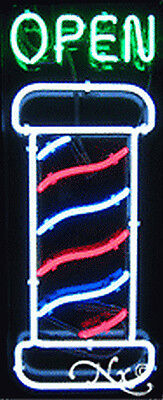 New Open Wbarber Shop Pole 32x13x3 Vertical Neon Sign Wcustom Options 10379