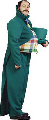 Wizard Of Oz Munchkin Land Mayor Costume Adult 4 Pc Green Coat Pants Hat & Tie](Adult Munchkin Costume)