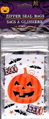 NEW Halloween Treat Bags with Zip Seal (40 Count) Pumpkin BOO - Boo Bags Halloween