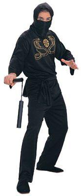 Deluxe Adult Ninja Costume, Black, OS (One Size fits Most) - Ninja Adult Costume