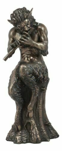 """Ebros Greek Divinity God Of The Woods And Mountains Satyr Statue 9.75"""" Tall"""