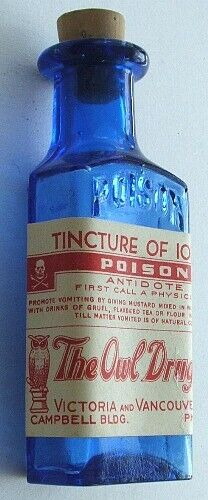 Canadian OWL DRUG Co RIGO Tincture Iodine POISON bottle COBALT BLUE w/label KI-7