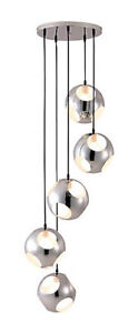 Meteor Shower  By Zuo 5 Tier Cascading Chrome Orbs Chandelier