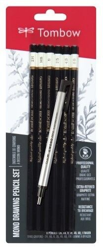 Tombow Mono -  Professional Drawing Pencil Set, 6 Pencils And Mono Zero Eraser,