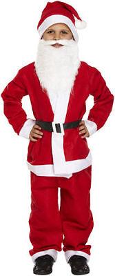 BOYS SANTA SUIT WITH BEARD & HAT FATHER CHRISTMAS FANCY DRESS CHILD COSTUME 4-12 - Boys Santa Suit