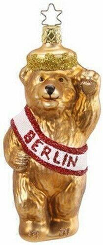 Inge Glas Berlin Germany Bear Mouth Blown Glass German Christmas Ornament 106712