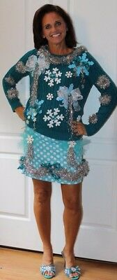 Created By Deb R Ugly Tacky Christmas Sweater Dress Outfit  Size S M - Hanukkah (Ugly Sweater Outfits)