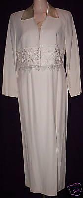 WOMEN's S.L.FASHION PETITES VINTAGE 80'S IVORY COCKTAIL DRESS size 8