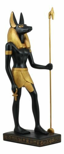 """Ebros Large Classical Egyptian God Of The Dead Anubis Holding Staff Statue 16""""H"""
