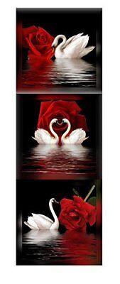 Framed White Swan Red Rose Flowers Black 3 Panel Canvas Print Wall Art -
