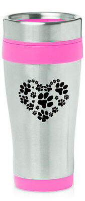 Print Insulated Travel Mug (Stainless Steel Insulated 16oz Travel Mug Coffee Cup Heart Paw Prints)