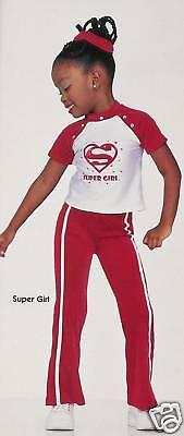 SUPER GIRL Rhinestone Hip Hop Dance Costume CS,CM,CL Girls HALLOWEEN - Supergirl White Outfit