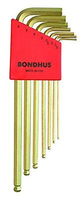 Bondhus 38092 Ball End Tip Hex Key L-Wrench Set with GoldGuard Finish, 7 (7 Piece Ball Tip)