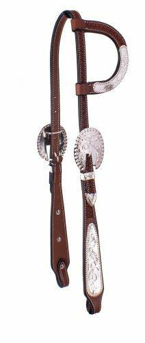 Western Horse Dark Oil w/ Silver One Ear Silver Show Leather Headstall / Bridle