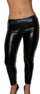 Sexy Black Wet Look Vegan Vinyl Pvc Fitted Punk leggings New Halloween Costume