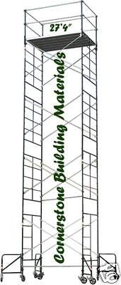 "5' X 7' X 27'4"" SCAFFOLDING ROLLING TOWER W/GUARDRAIL"
