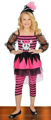 Girls Pink Skull Pirate Costume Punky Punk Fancy Dress Hat L Large Child Kids