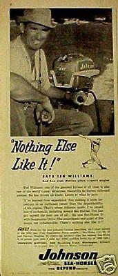 1955 Ted Williams Johnson Boat Motor Mlb Red Sox Basball Vintage Memorabilia Ad