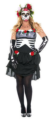Mrs. Muerte Plus Size Day of the Dead Costume for Women New by Music Legs 3X/4X - Costumes For 3 Women