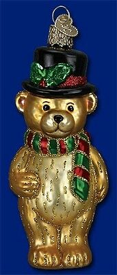 TOP HAT TEDDY OLD WORLD CHRISTMAS BLOWN GLASS TEDDY BEAR W/HOLLY ORNAMENT 12380