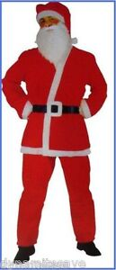 5pcs Father CHRISTMAS Xmas SANTA SUIT Fancy Dress Party Mens Outfit Costume N