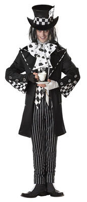 Dark Mad Hatter Mens Gothic Halloween Costume - Mad Hatter Halloween Costume Men