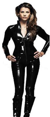 Ladies PVC Cat Woman Catsuit Superhero Costume Real Shiny PVC Dress (Pvc Catwoman Kostüme)