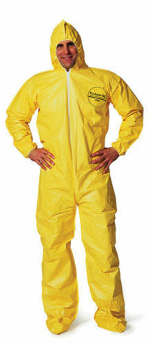 Tychem Tyvek QC122 or C5414 Chemical Hazmat Suit YELLOW Size SMALL to 7XL