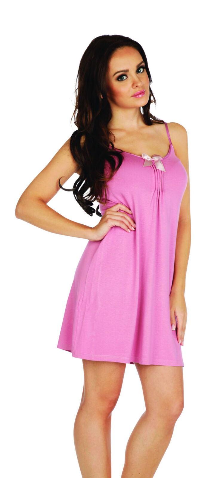 Ladies Girls Nighty Gown Mini Sleeveless Night Dress Soft Stretch