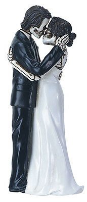 LOVE NEVER DIES WEDDING COUPLE SKELETON HALLOWEEN WEDDING CAKE TOPPER.8619S](Halloween Wedding Supplies)
