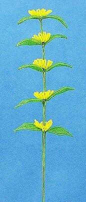 Vintage French Glass Beaded Yellow Filler Flower Stem