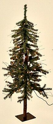 New Rustic Country Christmas Lighted Alpine Pencil Pine Tree Virtuous Lights 6 ft.