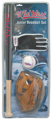 New Midwest Junior Baseball Starter Set Batting Glove Catching Mitt Bat & Ball