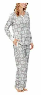 Nautica Womens 2 Piece Pajama Sleepwear Set Gray Snowflakes NWT Free Ship