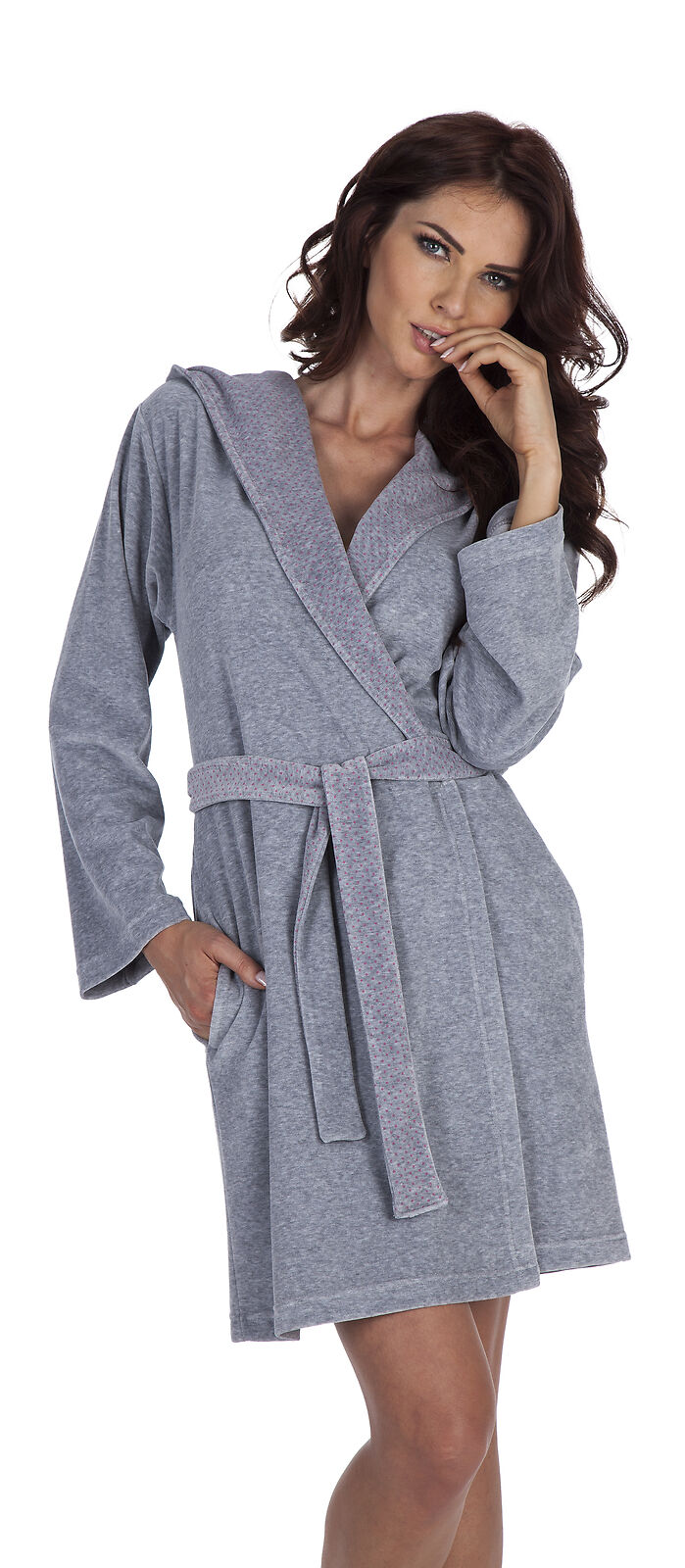 6ea62ada6d Women Girls Warm Hooded House Robe Cotton Dressing Gown Bathrobe