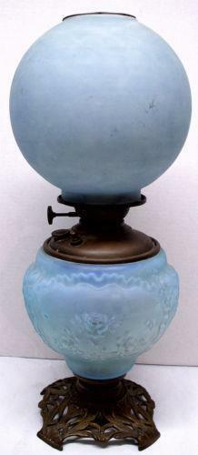 Antique Blue Oil Lamp Ebay